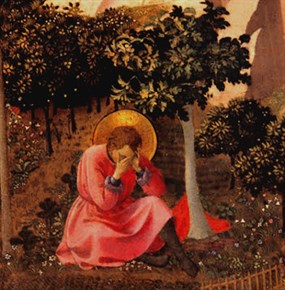 Augustine in the garden at Milan: by Fra Angelico