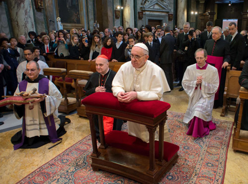 Pope Francis at Augustinian parish church in the Vatican