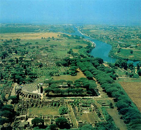 Aerial view of Ostia and the Tiber River