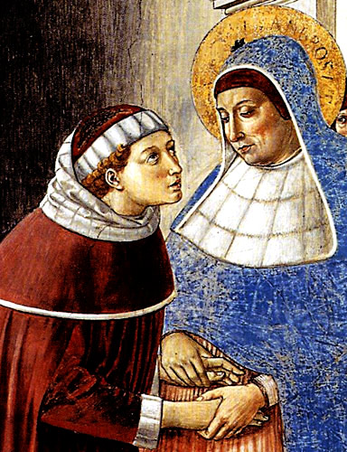 Monica and Augustine, mother and son: Gozzoli fresco