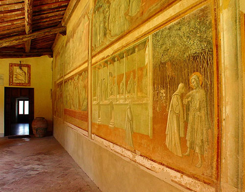 A fresco on a cloister wall in the Lecceto monastery