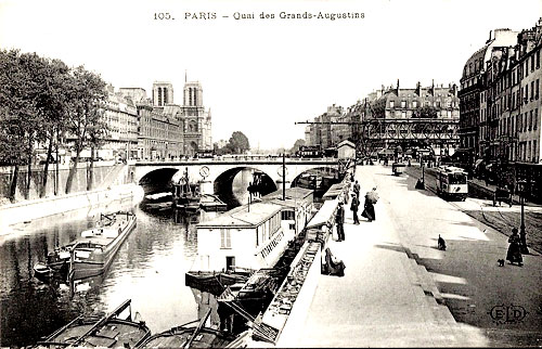 "The ""Quai des Grands Augustins"" in Paris, early in the 20th century"