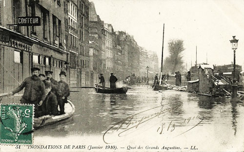"The ""Quai des Grands Augustins"" in flood, early in the 20th century"