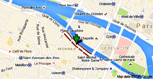 "The green arrow indicates the ""Quai des Grands Augustins"" in Paris"