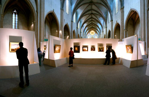 A gallery in the former nave of the church.