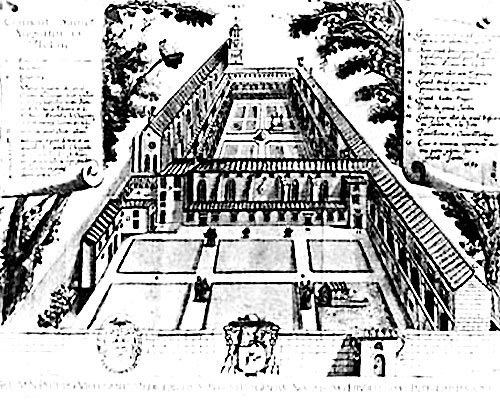 Thise earliest-known extant architectural drawing of the monastery (convento) was engraved by Joachim Séguenot in 1652