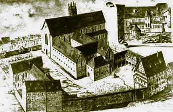 Medieval drawing of the Erfurt Augustinian monastery