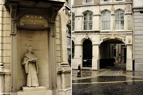 Entrance to Austin Friars Lane marked by a statue of a friar