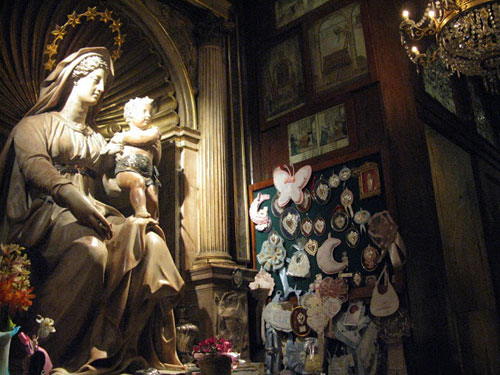Statue of Our Lady of Childbirth in Sant'Agostino Church in Rome