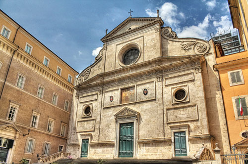 Rome's Sant'Agostino Church. Begun in 1479, and was finished in 1483.