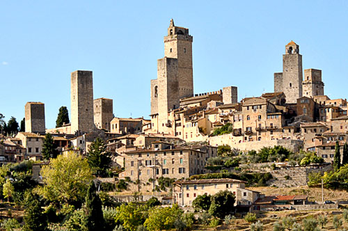 A hillside of the town of San Gimignano, Tuscany, Italy.