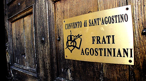 The door of the Augustinian convento (monastery) at San Gimignano.