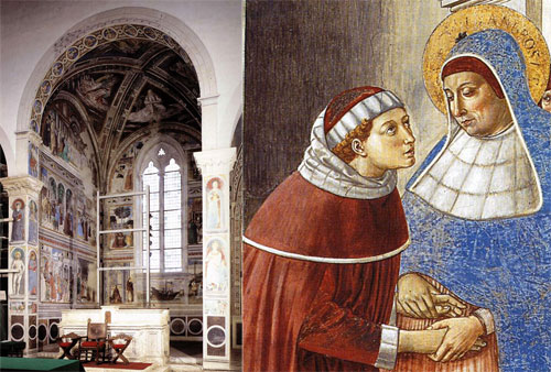 The Gozzoli frescoes (at left), and a fresco detail (at right).