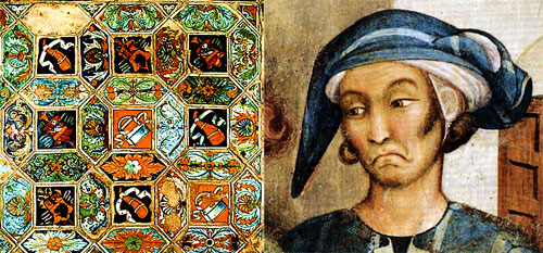 (Left): Tiles of maiolica on the floor of the Cappella Bicchi. (Right): Self portrait by Simone Martini.  (See text).