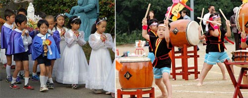In the Nagasaki Augustinian parish, young children celebrate.