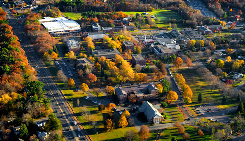 The Merrimack campus has grown to nearly forty buildings, and has adopted a beautiful brick colonial style of architecture.