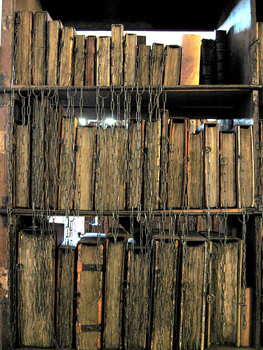 Chained books in a library, medieval style