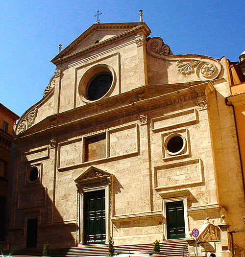 Church of St Augustine, Rome. Estuteville's wording is shaded by the ledge.