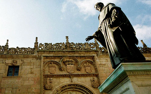 Statue of Luis de Leon OSA at the entrance of the University of Salamanca
