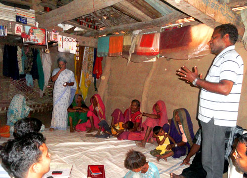 An Indian Augustinian at a Bible class in a small rural village in Central India