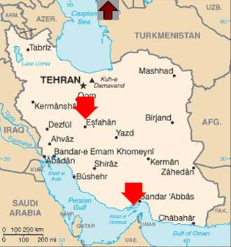 Map of Iran showing Hormuz and Esfahan.