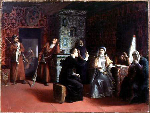 "Painting, ""Marina Mniszech under arrest with a priest."" (See below)"