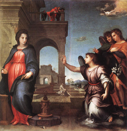 The Annunciation by Andrea del Sarto, dramatised by using three angels