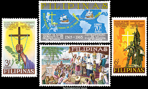 Postage stamps of the Philippines featuring Andrés de Urdaneta