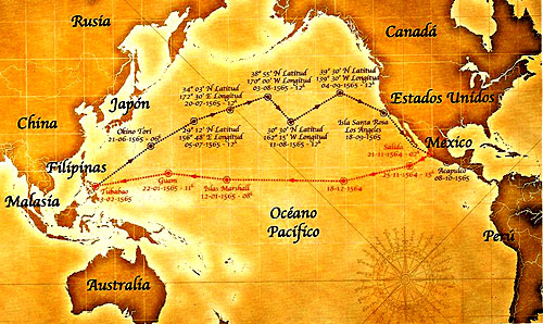 The red route to the Philippines, and the black route back to Mexico