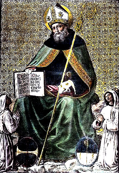 Augustine depicted as a bishop and founder of  community