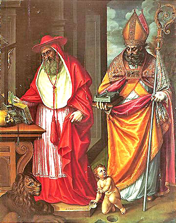 Saints Jerome and Augustine (see caption above)