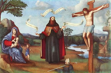 Mary, Augustine and the crucified Christ.