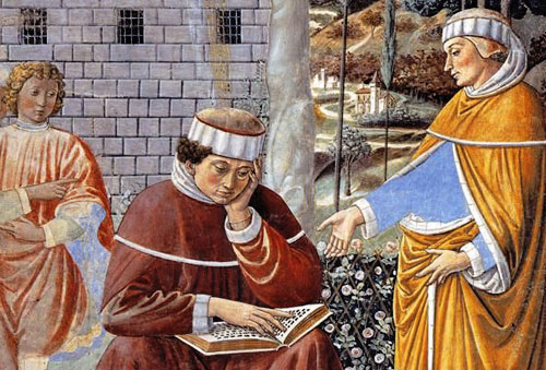 "Augustine's ""take and read"" moment at the garden in Milan (Gozzoli fresco)"