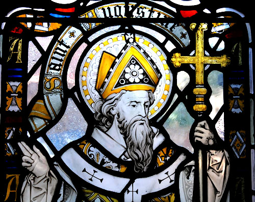 St Augustine of Hippo depicted in a leadlight church window
