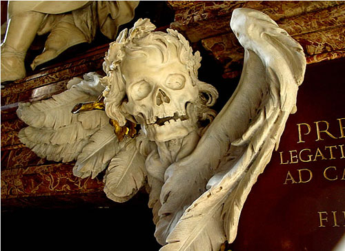A sobering marble carving, Church of Sant'Agostino, Rome