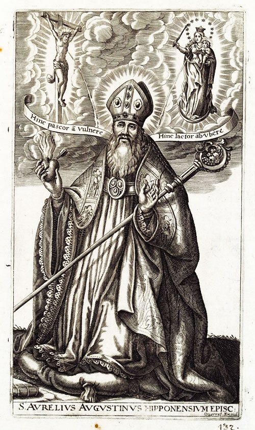 The frontispiece of a book in Latin about Saint Augustine
