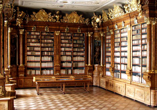 Part of the library in the Augustinian monastery at Brno, Czech Republic.