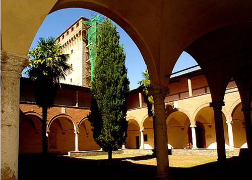 One of the two inner cloisters at Lecceto, plus the  notable tower