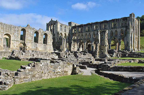 The great Benedictine Abbey at Rievaulx, Yorkshire, founded in 1131 AD
