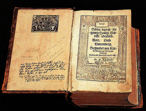 A copy of the Bible owned by Martin Luther, printed in German
