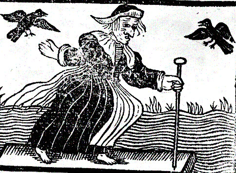 A early woodcut depicting a witch