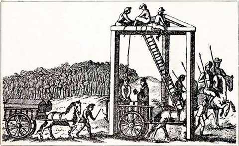 The gallows at Tyburn in London, the fate of many accused witches