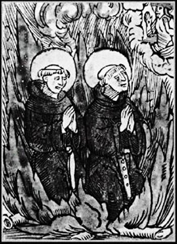 A woodcut depicting the burning at the stake, by Catholic authorities, of Belgian Augustinians Johann Esch and Henrich Voes for their refusal to recant.