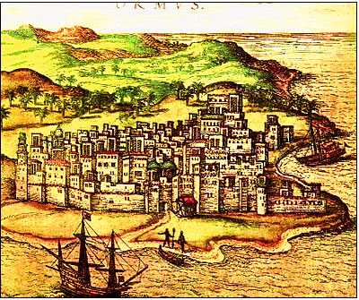 Hormuz as sketched in 1577 for a German book