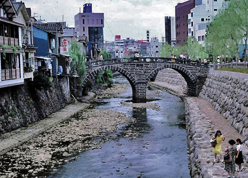 "Close to the site of the ""Spectacles Bridge,"" until recently a hardware store in the Motofurukawa section of Nagasaki occupied the site of the seventeenth-century Church of St Augustine"