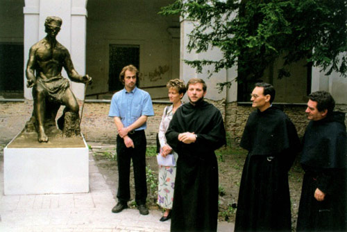 Unveiling a statue of Augustine in the monastery in Pragua