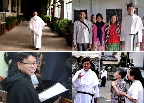 Clockwise from top left: Augustinians in Philippines, India, Japan and Korea