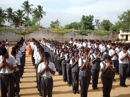 Morning prayer at an Augustinian high school in southern India.