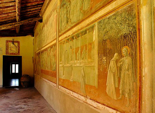 Fresco on the cloister wall of the Monastery (eremo) of Lecceto