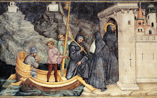 Gozzoli at Gubbio: Augustine lands at Carthage from Rome